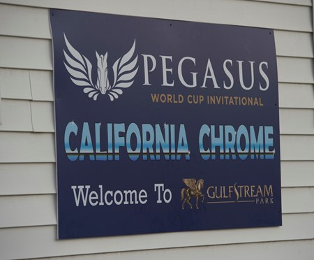 Pegasus World Cup Sign welcoming California Chrome