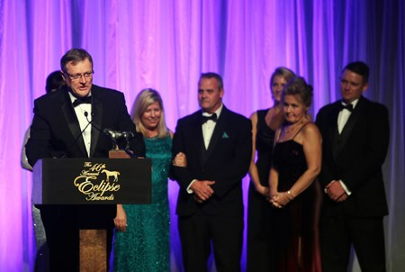 Garrett O'Rourke representing Juddmonte Farms  wins Eclipse Awards for Male Turf-Flintshire, Owner, and Three-Year-Old Male-Arrogate, during the 46th annual Eclipse Awards, at Gulfstream Park, 2017