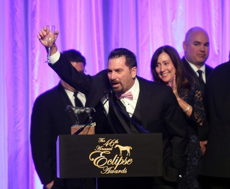 Champagne Room wins the Eclipse Award for Two-Year-Old Filly, accepted by owner Peter Ciaglia at Gulfstream Park for the 46th annual Eclipse Awards