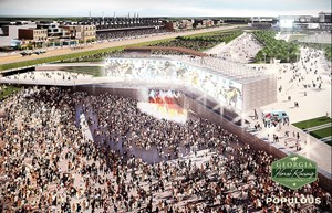 "Architectural renderings of ""Piedmont Park,"" a proposed Thoroughbred racetrack to be built near Atlanta."