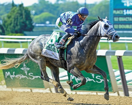 Frosted with Joel Rosario wins the Met Mile (gr. I) Training and schooling with Belmont Stakes contenders at Belmont Park in Elmont, New York on June 10, 2016.