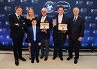 From left, Longines president Juan-Carlos Capelli, Jill Baffert, Bode Baffert, Bob Baffert, Juddmonte's Teddy Grimthorpe, and IFHA chairman Louis Romanet