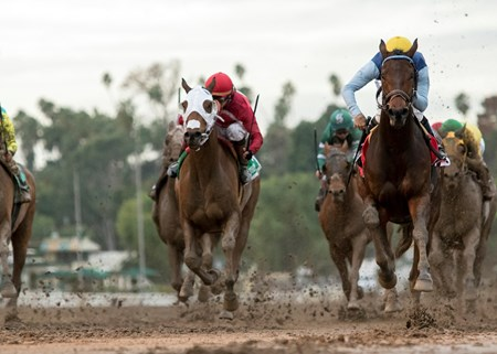 Blue Tone and jockey Kent Desormeaux, right, win the Grade II, $200,000 San Gabriel Stakes, Saturday, January 7, 2017 at Santa Anita Park, Arcadia CA.