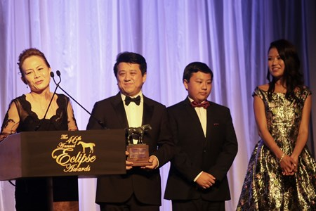 Susan and Charles Chu  accept the Eclipse Award for Champion Male Sprinter, Drefong, at the 46th annual Eclipse Awards