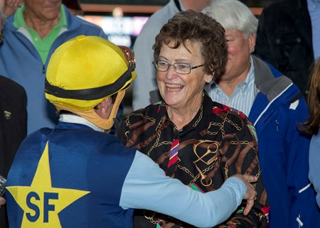 Co-owner Kathy Schroeder, right, celebrates with jockey Kent Desormeaux in the winner's circle after Blue Tone's victory in the Grade II, $200,000 San Gabriel Stakes, Saturday, January 7, 2017 at Santa Anita Park, Arcadia CA.