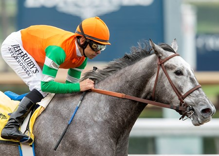 Unique Bella wins the 2017 Las Virgenes Stakes (G2) at Santa Anita Park