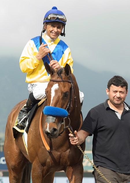 Jockey Mike Smith guides Vale Dori to the winner's circle after their victory in the Grade II, $200,000 Santa Maria Stakes, Saturday, February 11, 2017 at Santa Anita Park, Arcadia CA.