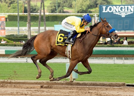 Vale Dori and jockey Mike Smith win the Grade II, $200,000 Santa Maria Stakes, Saturday, February 11, 2017 at Santa Anita Park, Arcadia CA.