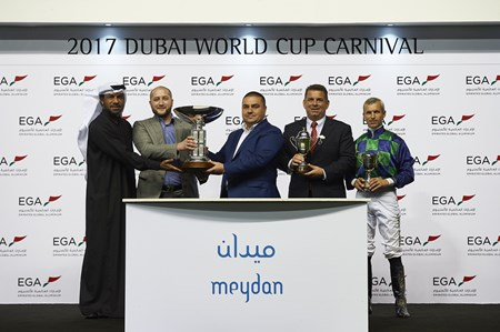 Trophy presentation to the winning connections of Cool Cowboy for the 2017 Al Shindagha Sprint (G3)
