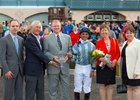 Pin Oak general manager Clifford Barry, trainer Malcolm Pierce, Kentucky state Senator Damon Thayer, jockey Jose Lezcano, and Pin Oak's Nancy Stephens in Turfway Park winner's circle following Don't Leave Me's win in 2015 Bourbonette Oaks.