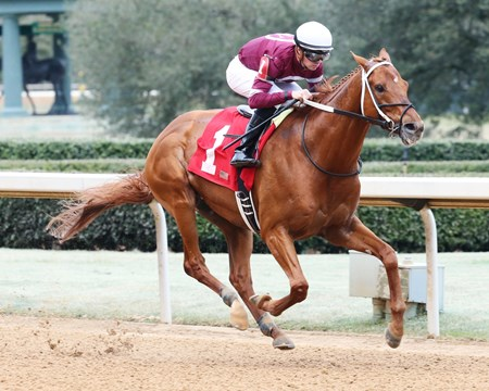 Gun Runner wins the 2017 Razorback Handicap (G3)