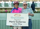 Mario Gutierrez after his 1,000th win with trainer Jerry Hollendorfer at Santa Anita Park