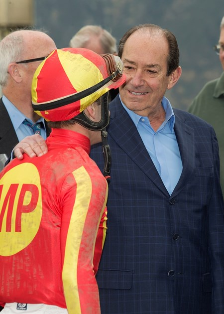 Co-owner Karl Watson, right, celebrates with jockey Flavien Prat after Hoppertunity's victory in the Grade II, $300,000 San Antonio Stakes, Saturday, February 4, 2017 at Santa Anita Park, Arcadia CA.