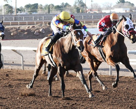 My Bikini Fell Off wins the 2017 Peppers Pride Handicap at Sunland Park