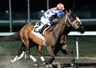 Malcolm Franklin rides the 1,000th winner of his career, aboard Belvin Feb. 4 at Turfway Park