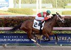 Ghalia wins an optional-claiming allowance race Feb. 15 at Gulfstream Park