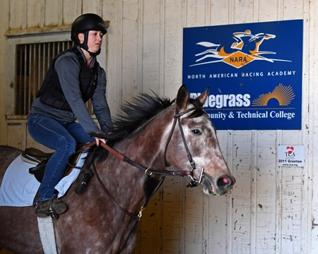 Cheyenne Jones on Monocle doing midterm riding exam Hands on training for NARA students at the Lexington Thoroughbred Center in Lexington, Ky., on March 9, 2017.  Staff include Remi Bellocq, Dixie Hayes (program coordinator),  Alicia Benben (Academic Coordinator/Instructor), Nicole Carlson (former student, now barn manager).