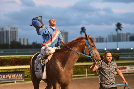 Gunnevera wins the Xpressbet Fountain of Youth Stakes (G2) at Gulfstream Park on March 4; 2017