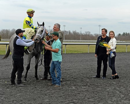 Dr. Kendall Hansen and wife on right after Fast And Accurate wins the 2017 Spiral Stakes (G3) at Turfway on March 25, 2017.