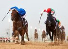 Thunder Snow (outside) and Epicharis duel to the wire in the UAE Derby