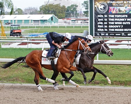 Girvin (inside) works a half-mile in :49 under Rosie Napravnik March 11