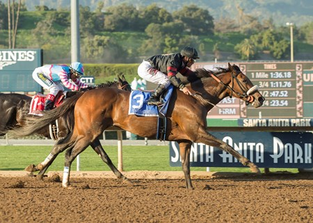Shaman Ghost wins the 2017 Santa Anita Handicap