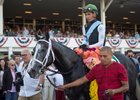 Tapwrit draped in flowers after his win in the Tampa Bay Derby