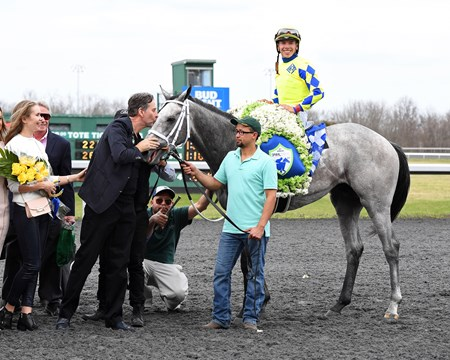 Kendall Hansen kissing his horse. Fast and Accurate with Tyler Gaffalione wins the JACK Cincinnati Casino Spiral Stakes (G3) at Turfway Park on March 25, 2017.