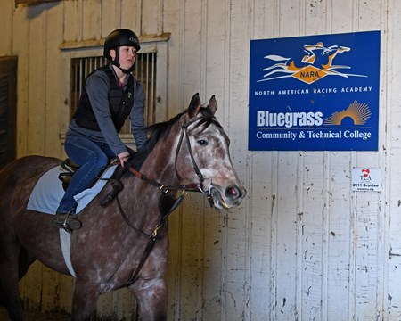 Cheyenne Jones on Monocle during riding test, exams Hands on training for NARA students at the Lexington Thoroughbred Center in Lexington, Ky., on March 9, 2017.  Staff include Remi Bellocq, Dixie Hayes (program coordinator),  Alicia Benben (Academic Coordinator/Instructor), Nicole Carlson (former student, now barn manager).