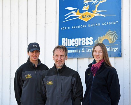 l-r, Dixie Hayes, Remi Bellocq, Alicia Benben Hands on training for NARA students at the Lexington Thoroughbred Center in Lexington, Ky., on March 9, 2017.  Staff include Remi Bellocq, Dixie Hayes (program coordinator),  Alicia Benben (Academic Coordinator/Instructor), Nicole Carlson (former student, now barn manager).