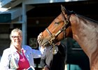 Dede McGehee with Fayeq as a yearling