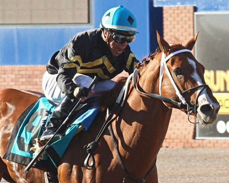 Calumet Farm's Hence closed from 10th to win the March 26 Sunland Derby by 3 3/4 lengths