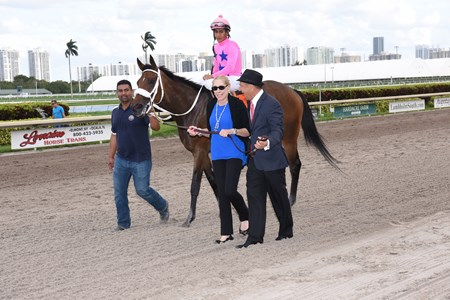 Miss Sky Warrior wins the Davona Dale Stakes (G2) at Gulfstream Park on March 4; 2017