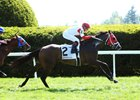 Gorgeous Kitten winning on Keeneland's turf course April 26
