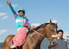 Victor Espinoza celebrates his Santa Anita Derby win aboard Gormley