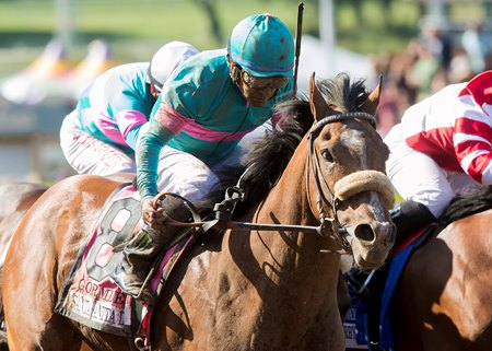 Gormley winning the Santa Anita Derby (G1)