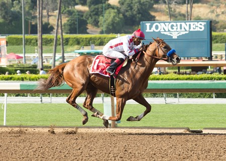 Collected and jockey Martin Garcia win the Grade II, $200,000 Californian Stakes, Saturday, April 22, 2017 at Santa Anita Park, Arcadia CA.