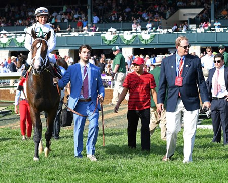 Preston Troutt leads in the winner. American Patriot with Javier Castellano wins Maker's 46 Mile (G1) at Keeneland. April 14, 2017 Keeneland in Lexington, Ky.