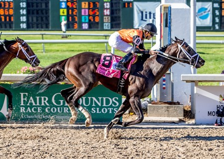 Girvin with jockey Brian Hernandez Jr aboard wins the 104th running of the Grade II Louisiana Derby at Fair Grounds.