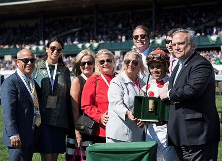 l-r, Mark Casse (left), ?, ?, Virginia Moens, Charlotte Weber, Joel Rosario. Awesome Slew with Joel Rosario aboard wins The 31st Running of The Commonwealth (G3)   at Keeneland on April 8, 2017 Keeneland in Lexington, Ky.
