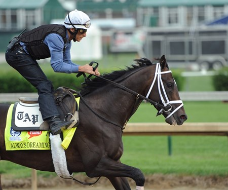 (April 28, 2017) Jockey John Velazquez takes a strong hold of Florida Derby winner ALWAY'S DREAMING Friday morning, before his 5 furlong work at Churchill Downs