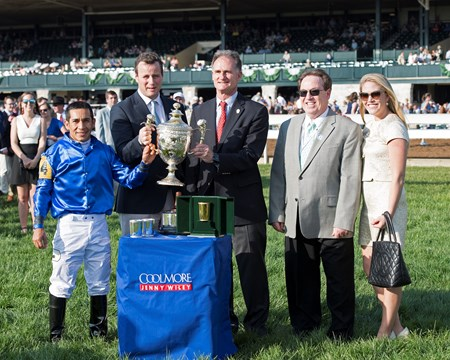 l-r, Paco Lopez, David Wachman for Coolmore, Jimmy Bell, Kiaran McLaughlin, and Erin McLaughlin