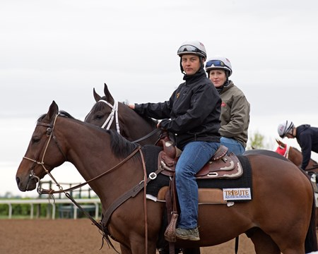 Girvin (behind pony) with Rosie Napravnik Sharp with trainer Joe Sharp on pony (front).