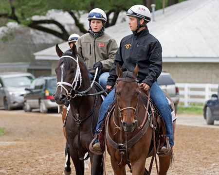 Girvin (left) with Rosie Napravnik Sharp with trainer Joe Sharp on a pony.