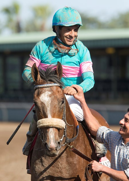 Gormley and jockey Victor Espinoza, right, win the Grade I $1,000,000 Santa Anita Derby Saturday April 8, 2017 at Santa Anita Park, Arcadia CA.