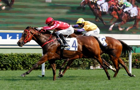 John Size-trained Mr Stunning (No 4), ridden by Joao Moreira, wins the G2 The Sprint Cup (1200m) at Sha Tin on April 9 2017