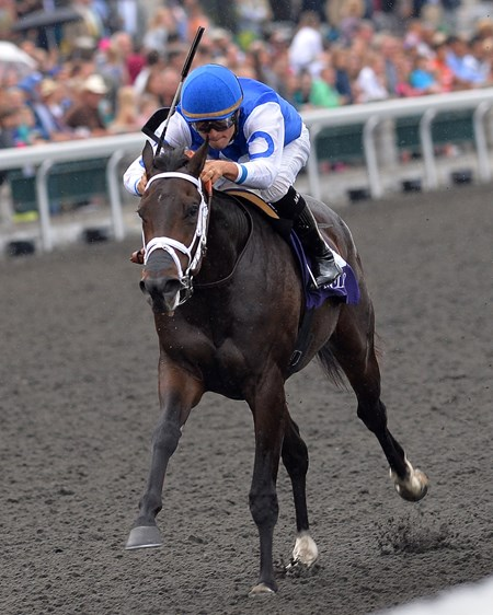 Tepin, Miguel Mena up wins 2yr old MSW, , Keeneland Race Course, Lexington, KY, 10/5/13, photo by Mathea Kelley;