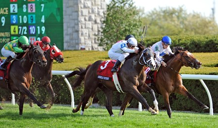(April 14, 2017) American Patriot (#3) Javier Castellano up, overtakes Heart To Heart (#9) and Conquest Panthera (middle) in deep stretch, to win the Gr.1 Maker's 46 Mile at Keeneland