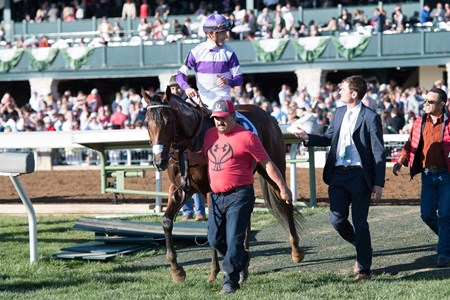Irap with Julien Leparoux aboard wins The 93rd Running of The Toyota Blue Grass (G2) at Keeneland on April 8, 2017 Keeneland in Lexington, Ky.