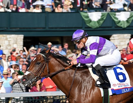 Irap with Julien Leparoux wins the Blue Grass (G2) at Keeneland. April 8, 2017 Keeneland in Lexington, Ky.